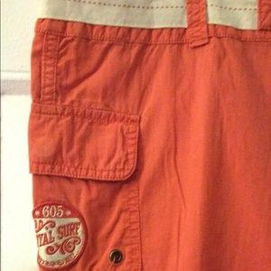 OLD NAVY SZ 12 ORANGE ZIP FRONT CAPRI CARGO PANTS